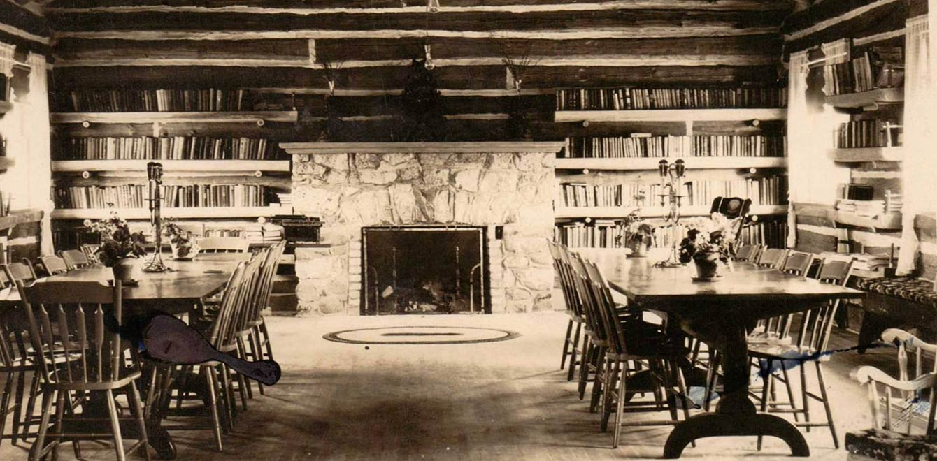 An early photo of the interior of The Forest Lodge Library in Cable, Wisconsin.